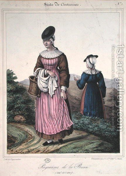 Peasant costumes from the Bresse area, 1845 by Charpentier - Reproduction Oil Painting