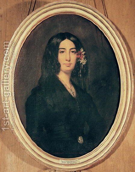 Portrait of George Sand (1804-76) by Auguste Charpentier - Reproduction Oil Painting