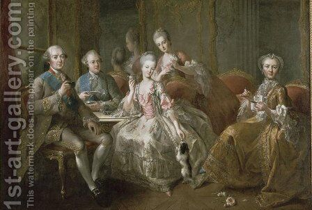 The Penthievre Family or The Cup of Chocolate, 1768 by Jean Baptiste (or Joseph) Charpentier - Reproduction Oil Painting