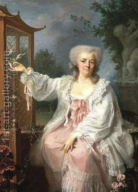 Portrait of a Lady by a pagoda by Jean Baptiste (or Joseph) Charpentier - Reproduction Oil Painting