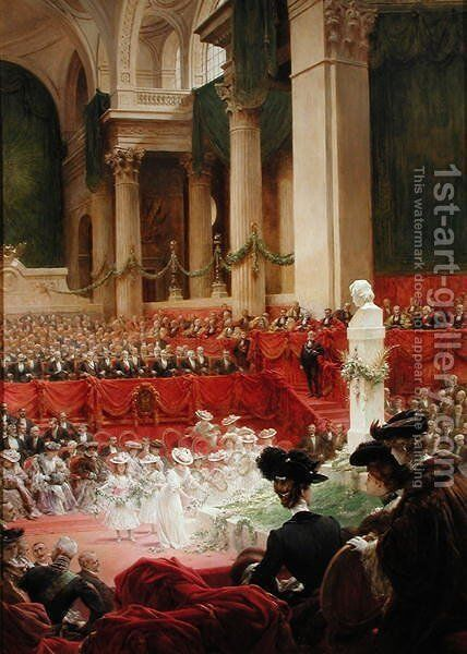 The Ceremony at the Pantheon to Celebrate the Centenary of the Birth of Victor Hugo (1802-85) 26th February 1902, 1904 by Théobald Chartran - Reproduction Oil Painting