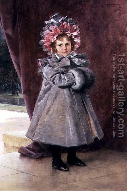 La Promenade: Portrait of Miss Eliza Conkling of New York, 1899 by Théobald Chartran - Reproduction Oil Painting