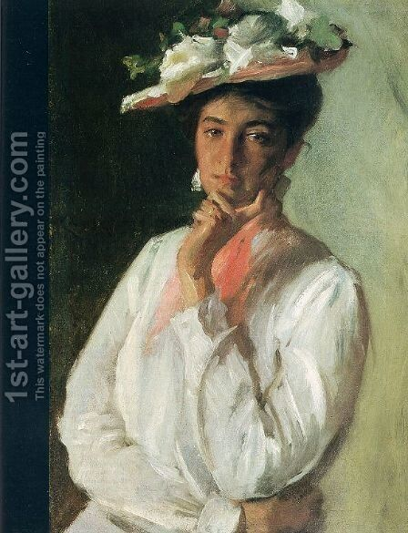 Woman in White, c.1910 by William Merritt Chase - Reproduction Oil Painting