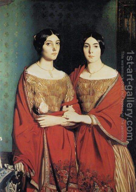 The Two Sisters, or Mesdemoiselles Chasseriau: Marie-Antoinette-Adele (1810-69) and Genevieve (Aline) (1822-71) sisters of the artist, 1843 by Theodore Chasseriau - Reproduction Oil Painting