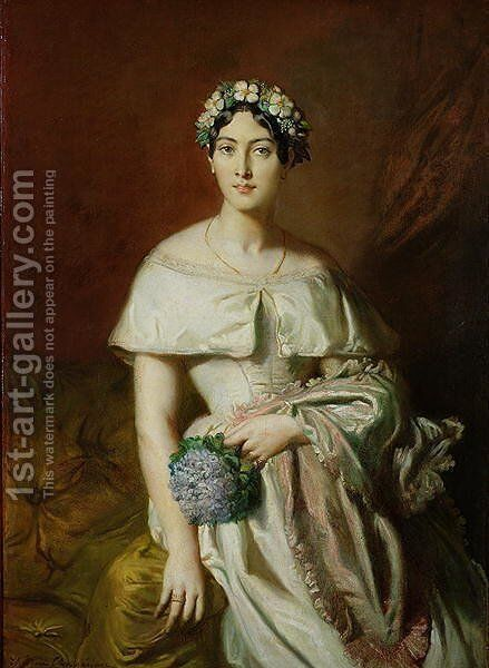 Mademoiselle Marie-Therese de Cabarrus, 1848 by Theodore Chasseriau - Reproduction Oil Painting