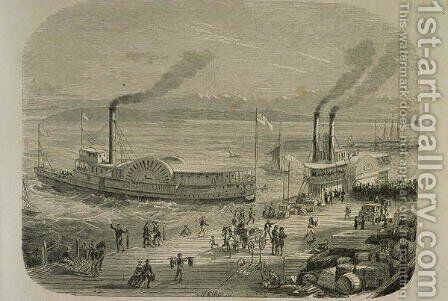 The San Francisco Docks in the 1860s by Gustave Adolphe Chassevent-Bacques - Reproduction Oil Painting