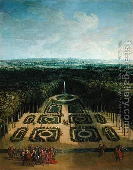 Promenade of Louis XIV (1638-1715) in the Gardens of the Grand Trianon, 1713 by Chassoneris - Reproduction Oil Painting