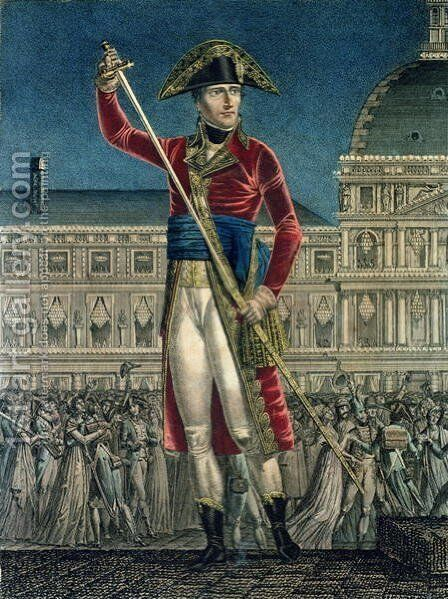 Bonaparte, First Consul (1769-1821) Replacing his Sword in its Sheath after the General Peace by Alexis Chataigner - Reproduction Oil Painting