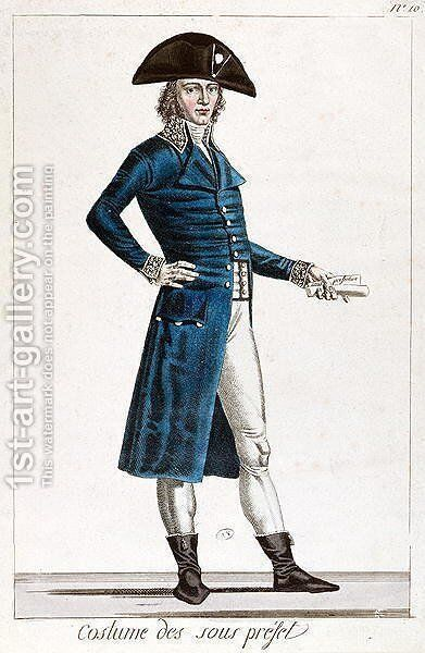 Costume of an Under-Prefect during the First Empire, c.1800 by Alexis Chataigner - Reproduction Oil Painting