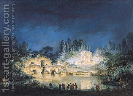 Illumination of the Belvedere at the Petit-Trianon, 1781 by Claude Louis Chatelet - Reproduction Oil Painting