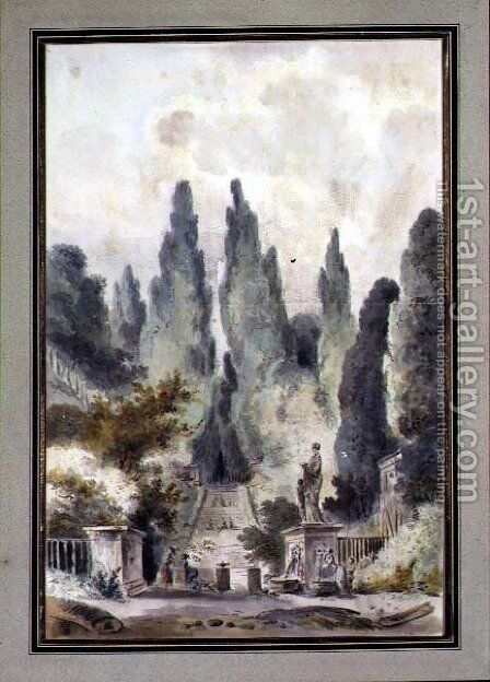 The Gardens of the Villa d'Este at Tivoli by Claude Louis Chatelet - Reproduction Oil Painting