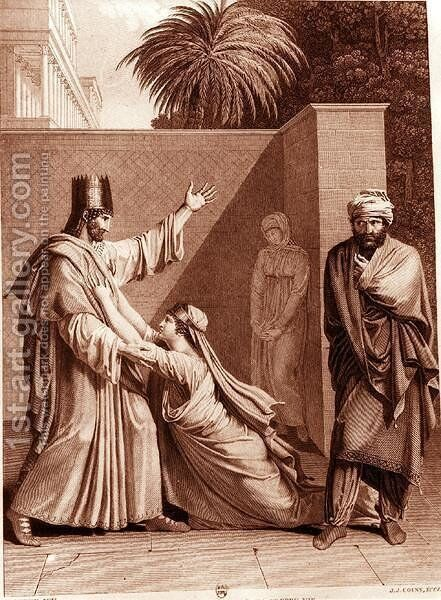 Esther Imploring Assuerus in the Presence of Aman by Antoine Denis Chaudet - Reproduction Oil Painting