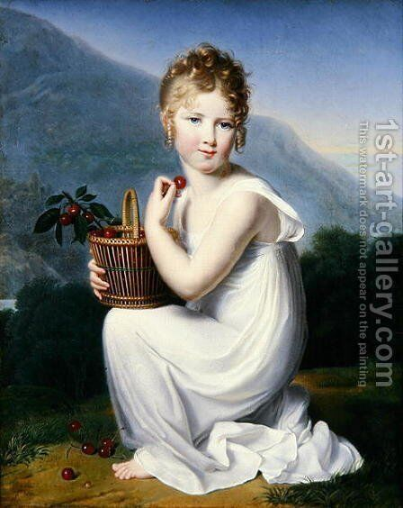 Young Girl Eating Cherries by Jeanne-Elisabeth Chaudet - Reproduction Oil Painting