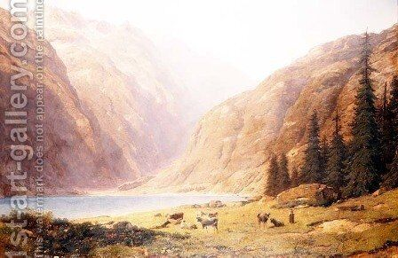 A mountainous lake landscape with cattle by Alfred Chavannes - Reproduction Oil Painting