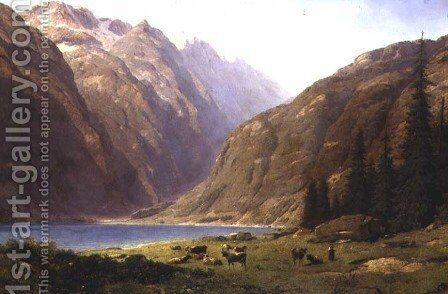A Mountainous Landscape with Cattle by Alfred Chavannes - Reproduction Oil Painting