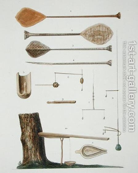Society Islands: pangas, fishing hooks and other tools, from 'Voyage autour du Monde, executee par Ordre du Roi sur La Corvette de Sa Majeste, La Coquille, pendant les Annees 1822, 1823, 1824 et 1825' by Antoine Chazal - Reproduction Oil Painting