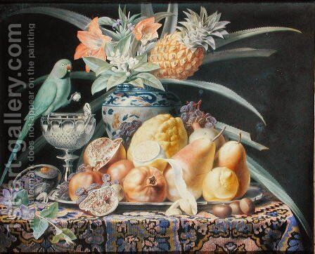 Still Life with a Budgerigar, 1834 by Antoine Chazal - Reproduction Oil Painting
