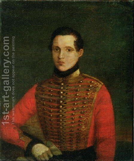 Portrait of the Poet Michail Lermontov, 1830s by A. Chelyshev - Reproduction Oil Painting