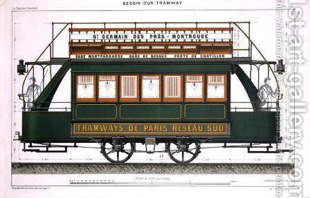 Design for a Tram by A. Cheneveau - Reproduction Oil Painting