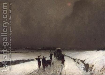 The Stragglers, Snow Effect, 1870 by Augustin Pierre Chenu - Reproduction Oil Painting