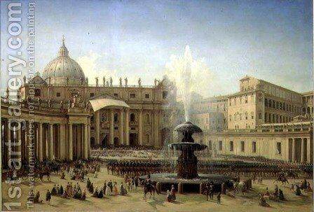 The Piazza San Pietro in Rome at the time of a Papal Blessing, 1850 by Grigori Grigorevich Chernetsov - Reproduction Oil Painting