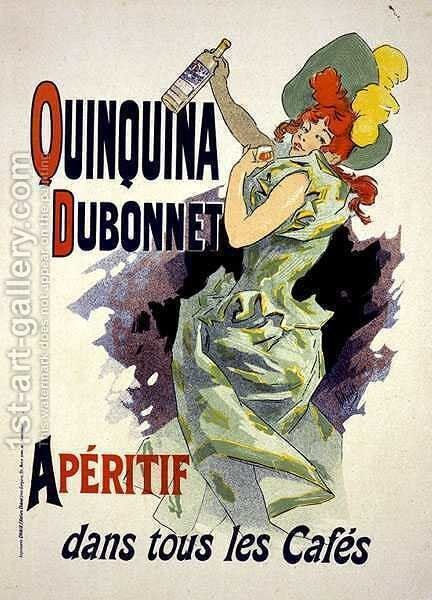 Reproduction of a poster advertising 'Quinquina Dubonnet', 1895 by Jules Cheret - Reproduction Oil Painting