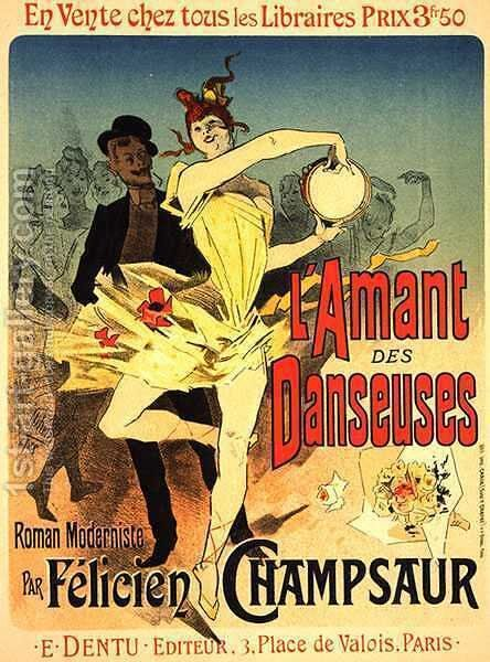Reproduction of a poster advertising 'The Lover of Dancers', 1888 by Jules Cheret - Reproduction Oil Painting
