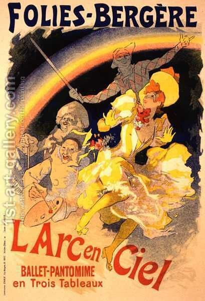 Reproduction of a poster advertising 'The Rainbow', a ballet-pantomime presented by the Folies-Bergere, 1893 by Jules Cheret - Reproduction Oil Painting