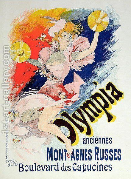 Poster advertising 'Olympia', Boulevard des Capucines, 1892 by Jules Cheret - Reproduction Oil Painting