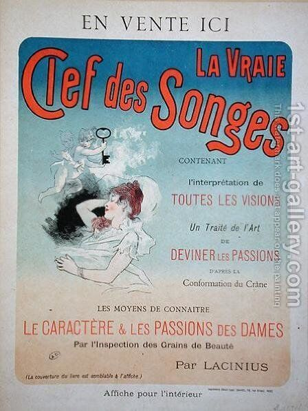 Poster advertising the book 'La Vraie Clef des Songes' by Lacinius, 1892 by Jules Cheret - Reproduction Oil Painting