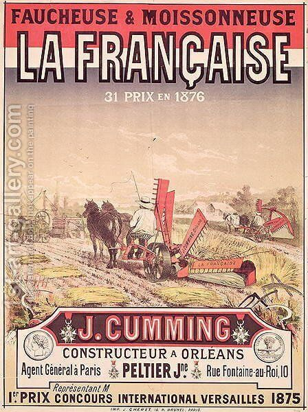 Poster advertising 'La Francaise, Reaper and Mower', made by J. Cumming of Orleans, 1876 by Jules Cheret - Reproduction Oil Painting