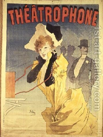 Poster Advertising the 'Theatrophone' by Jules Cheret - Reproduction Oil Painting