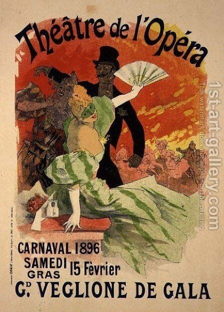 Reproduction of a Poster Advertising the 1896 Carnival at the Theatre de l'Opera, 15th February 1896 by Jules Cheret - Reproduction Oil Painting