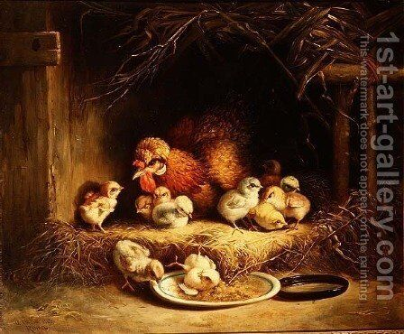 Hen with her Chicks, 1867 by Andrea Cherubini - Reproduction Oil Painting