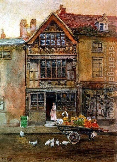 Harvard House, Stratford upon Avon by Elizabeth M. Chettle - Reproduction Oil Painting