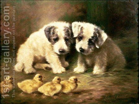 Sealyham Puppies And Ducklings Painting By Lilian Cheviot