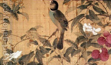 Birds and flowers, detail from a horizontal scroll by Chao Chi - Reproduction Oil Painting