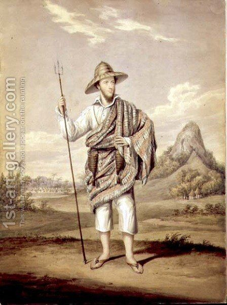 Portrait of J. Becroft standing against an African background, c.1824 by James Warren Childe - Reproduction Oil Painting