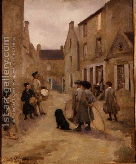 Children Playing with Hoops in a Street, Arromanches, 1903 by Milly Childers - Reproduction Oil Painting