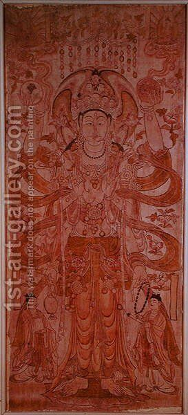 Avalokiteshvara with nine heads and six arms, from Dunhuang, Gansu Province, Tang Dynasty (618-907) by Anonymous Artist - Reproduction Oil Painting