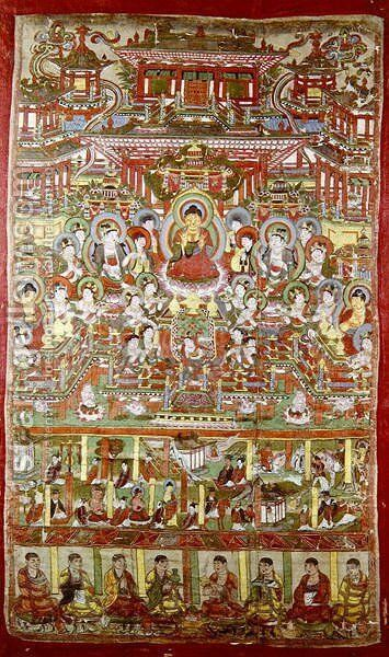 Paradise of Amitabha, from Dunhuang, Gansu Province by Anonymous Artist - Reproduction Oil Painting