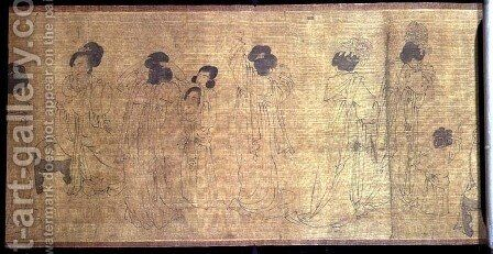 Palace Ladies at Leisure Handscroll, detail of ladies preparing to go out, after an original by Wen-chu Chou (fl.970) Southern Sung period, c.1140 by Anonymous Artist - Reproduction Oil Painting