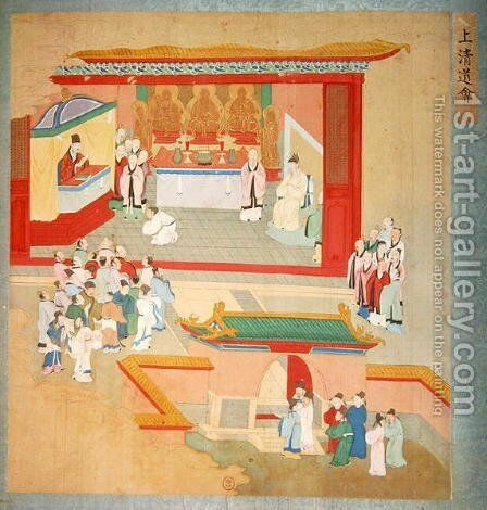 Emperor Hui Tsung (r.1100-26) practising with the Buddhist sect Tao-See, from a History of the Emperors of China by Anonymous Artist - Reproduction Oil Painting