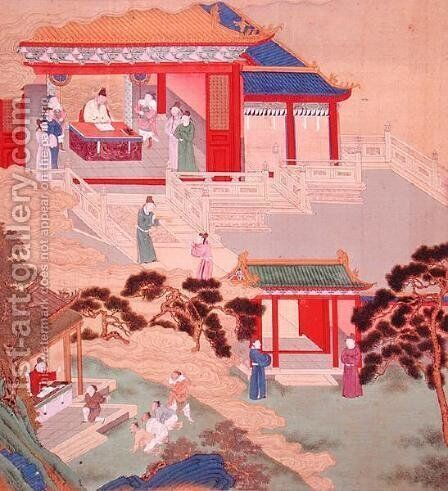 Emperor Tai Tsung (r.762-779) reading a medical tome, from a history of Chinese emperors by Anonymous Artist - Reproduction Oil Painting