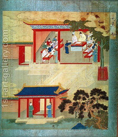Civil Service Exam Under Emperor Jen Tsung (fl.1022) from a history of Chinese emperors by Anonymous Artist - Reproduction Oil Painting