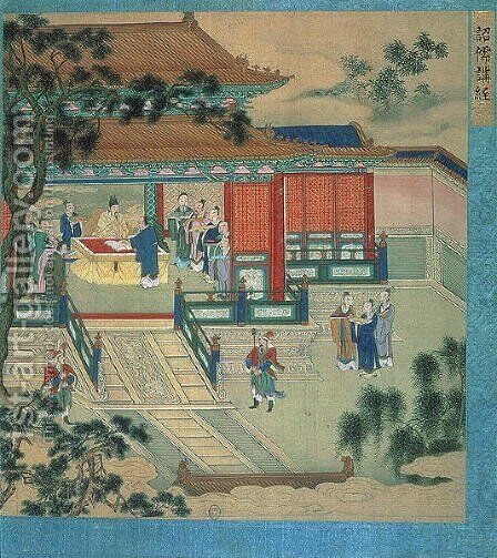 Emperor Hsien Ti (fl.189-220) with scholars translating classical texts, from a history of Chinese emperors by Anonymous Artist - Reproduction Oil Painting