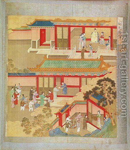 Emperor Hsuan Tsung (712-756 AD) at home, from a history of Chinese emperors by Anonymous Artist - Reproduction Oil Painting