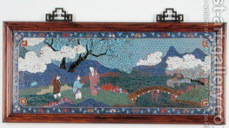 Panel depicting a Chinese landscape, Ming dynasty by Anonymous Artist - Reproduction Oil Painting