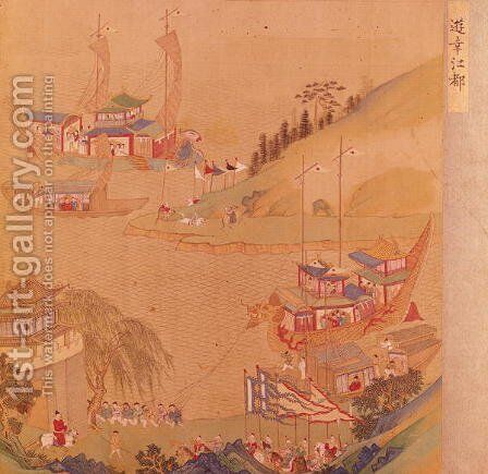 The Second Sui Emperor, Yangdi (569-618) with his fleet of sailing craft, from a history of Chinese emperors by Anonymous Artist - Reproduction Oil Painting