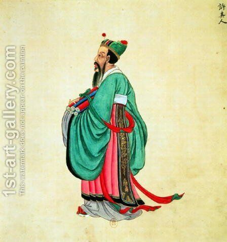Portrait of Confucius (c.551-479 BC) by Anonymous Artist - Reproduction Oil Painting
